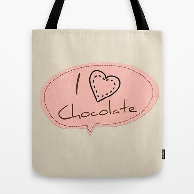 "I Heart Chocolate Tote Bag -  quality crafted Tote Bags are hand sewn in America using durable, yet lightweight, poly poplin fabric. All seams and stress points are double stitched for durability. They are washable, feature original artwork on both sides and a sturdy 1"" wide cotton webbing strap for comfortably carrying over your shoulder.  Happy International Chocolate Day! July 7th. I can't imagine my life without chocolate and this graphic is just perfect to express my love."