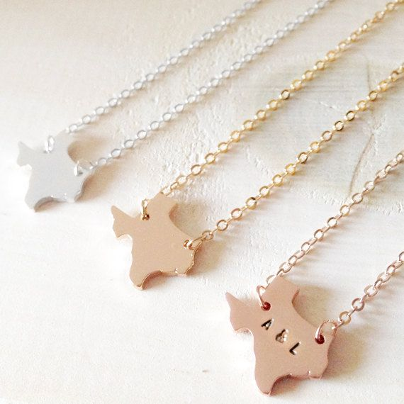 Dainty Texas State Necklace US State Map Necklace In Gold Silver - Us state initial map