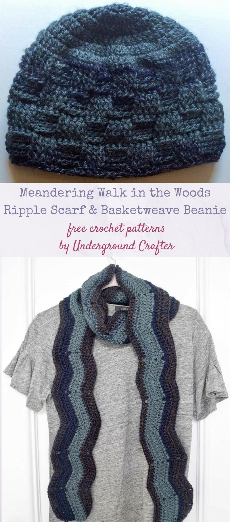 Free crochet patterns meandering walk in the woods basketweave free crochet patterns meandering walk in the woods basketweave beanie and ripple scarf by underground crafter dt1010fo