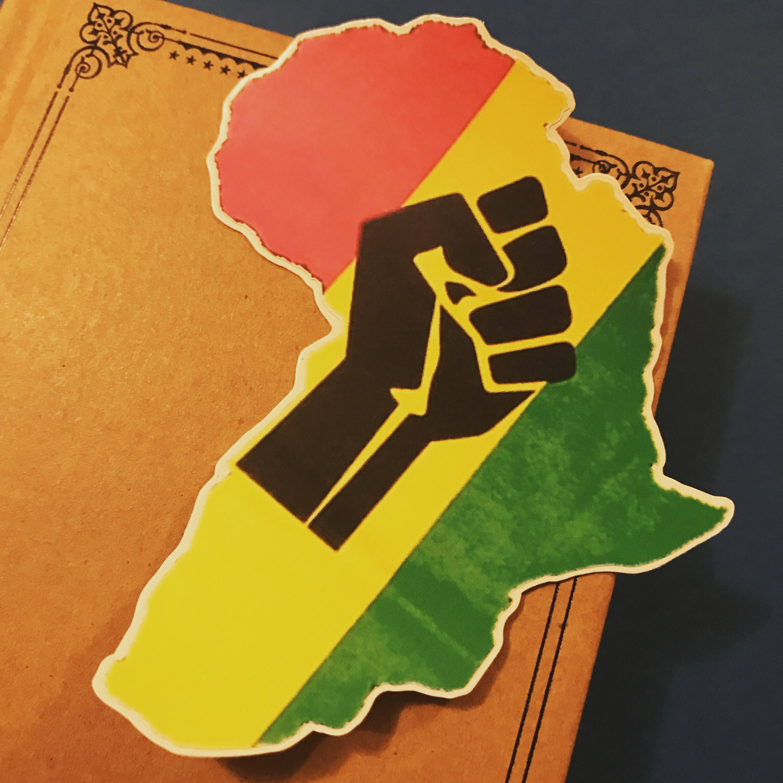 Raised Fist Africa Vinyl Sticker, Black Pride Decal, Black