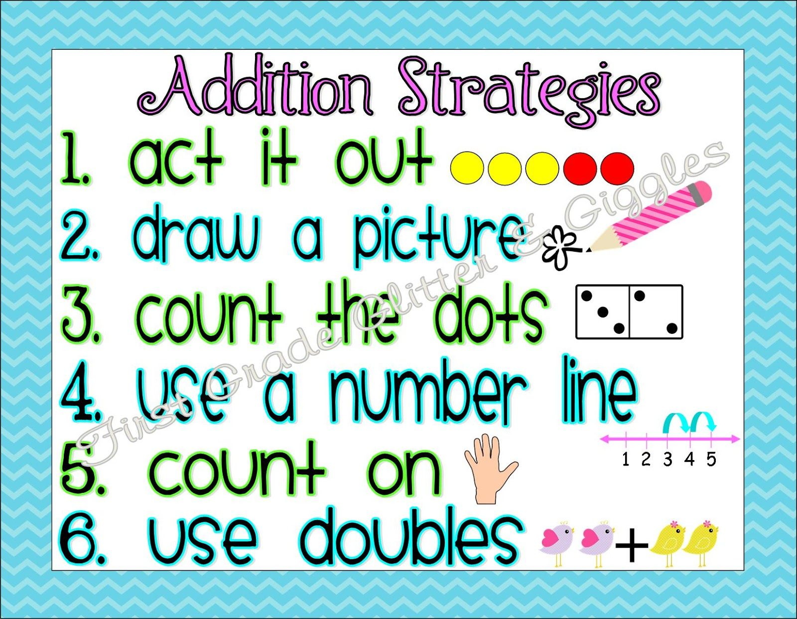 First Grade Glitter And Giggles Math Strategy Posters