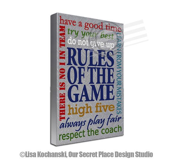 Rules Of The Game Inspirational Sports Decor Football Room Baseball Teen Wall
