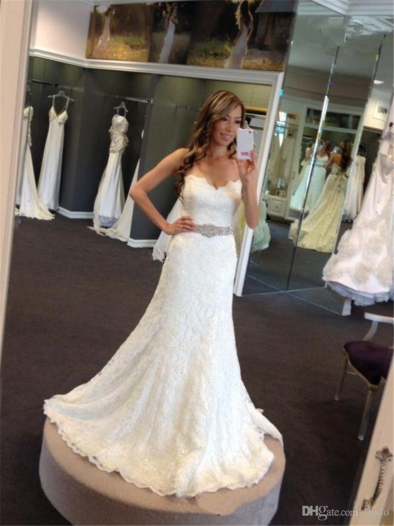 Bling Beaded Full Lace Mermaid Wedding Dresses 2017 Spring Vintage ...