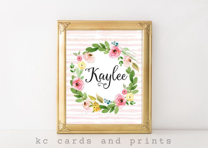 Nursery Name Print, Kaylee Name Art, K Monogram, Nursery Wall Art - küchengeräte namen bilder
