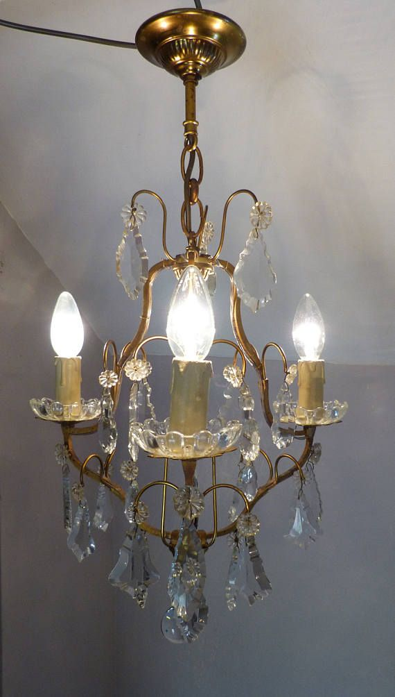 Beautiful small french bronze crystal cage chandelier with lead beautiful small french bronze crystal cage chandelier with lead crystals c1920 rewired aloadofball Gallery