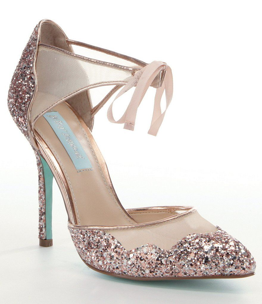 Wedding Betsey Johnson Heels blue by betsey johnson stela glitter ankle strap pointed toe pumps pumps