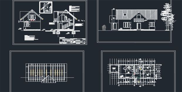 00000Wooden House Detail AutoCAD Drawings Free DWG Download Solar Energy System