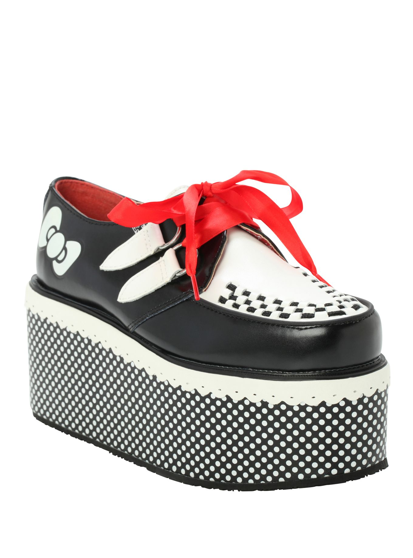 T U K Hello Kitty Bow Dot Stack Creepers