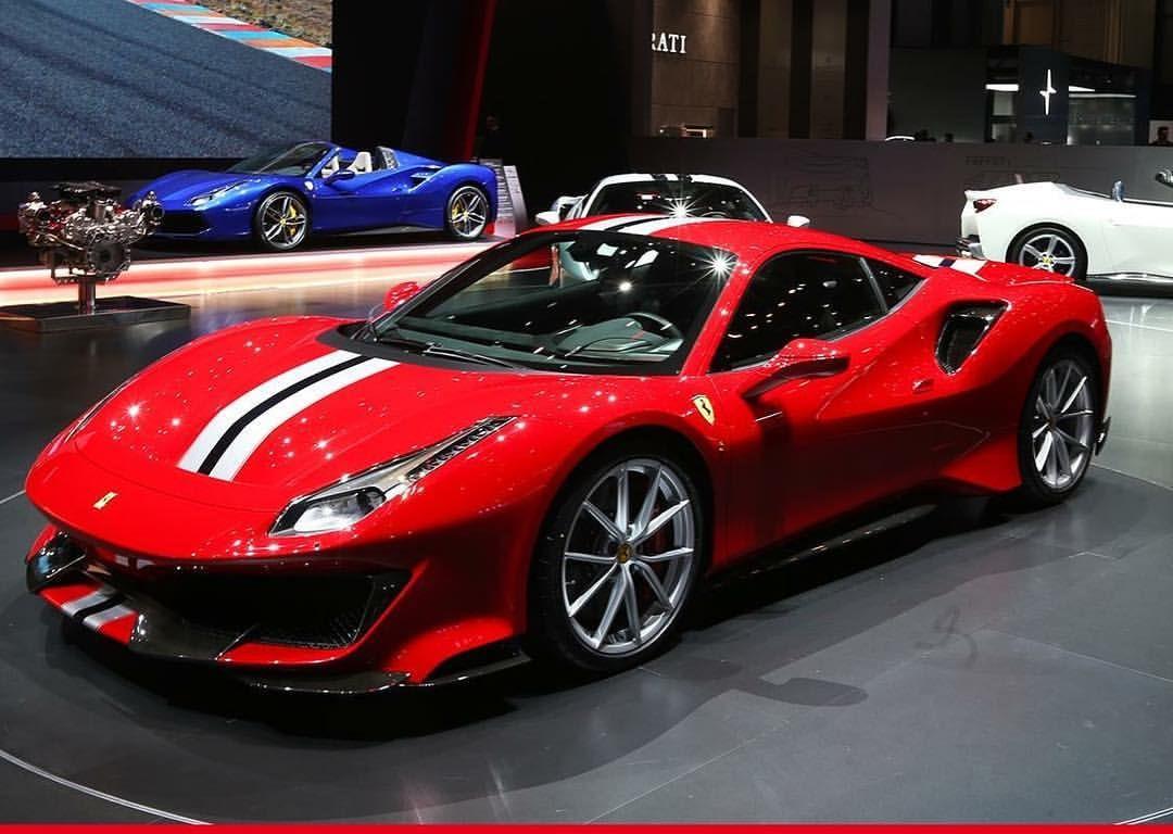 Ferrari 488 Pista Red Color Plus Blue And White Stripes Track