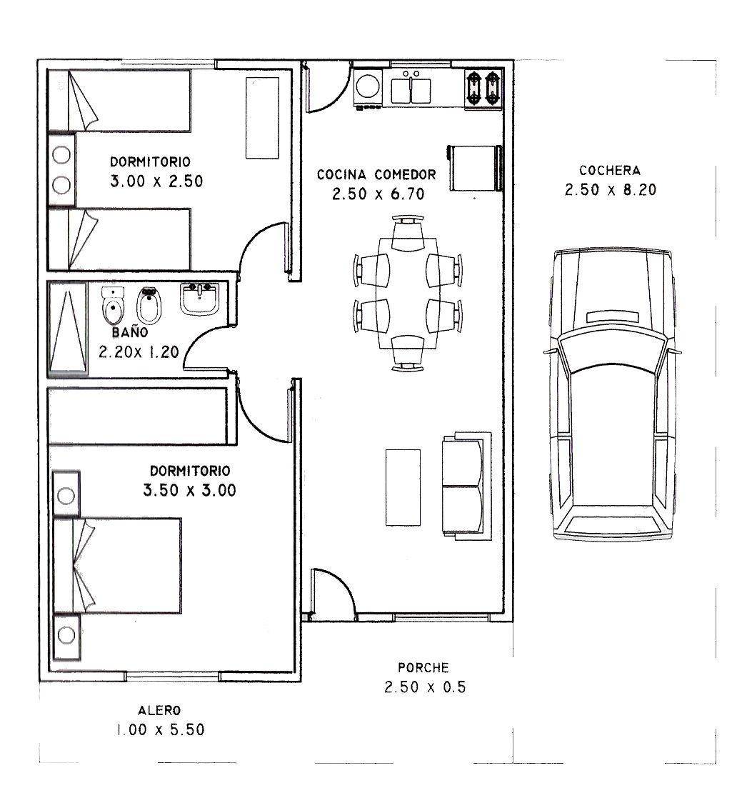 Plano de casa de 2 dormitorios y 80 metros cuadrados for Cuarto 4x4 metros