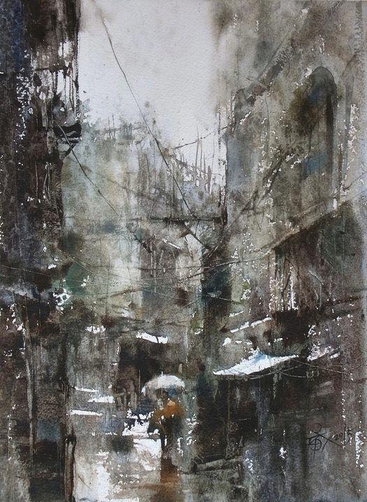 【Terrible Rain / 大雨】37 X 27 Cm Plien Air Watercolor By Chien Chung Wei  #watercolor Jd: