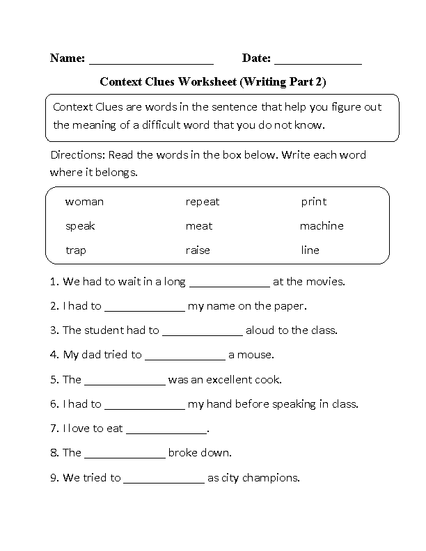 Englishlinx Context Clues Worksheets – Vocabulary in Context Worksheets