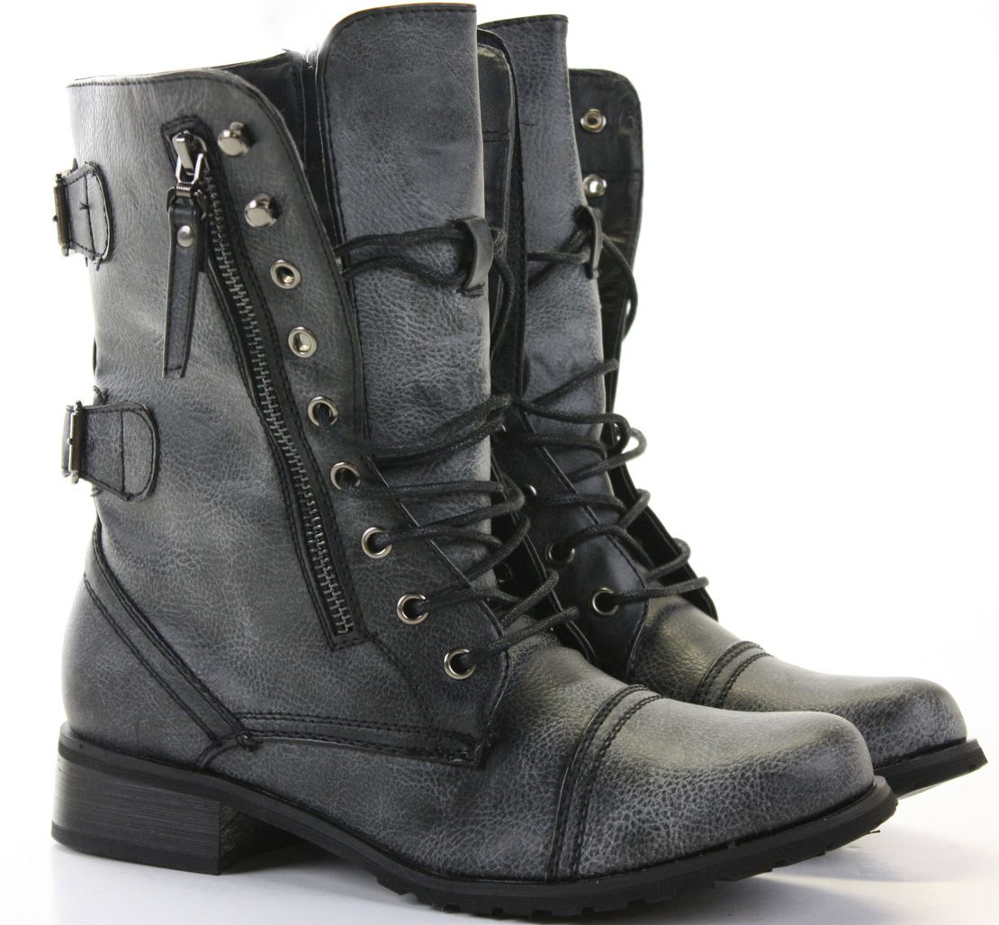 Womens Combat Style Army Worker Military Ankle Boots Flat Punk Goth Shoes  Size | Boots, Goth shoes, Military shoes