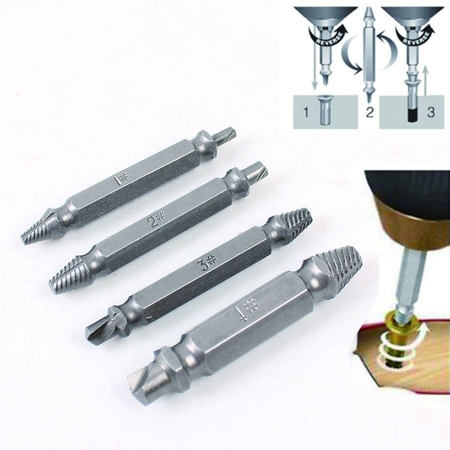 4 Stück Double Side Screw Extractor Bohrer Broken Damaged Bolt Remover