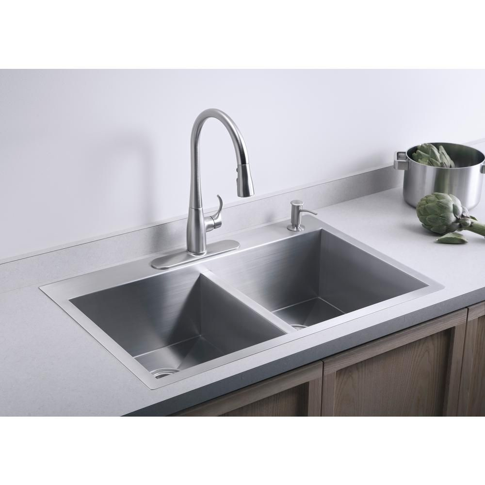 Kohler Vault Dual Mount Stainless Steel 33 In 4 Hole Double Bowl
