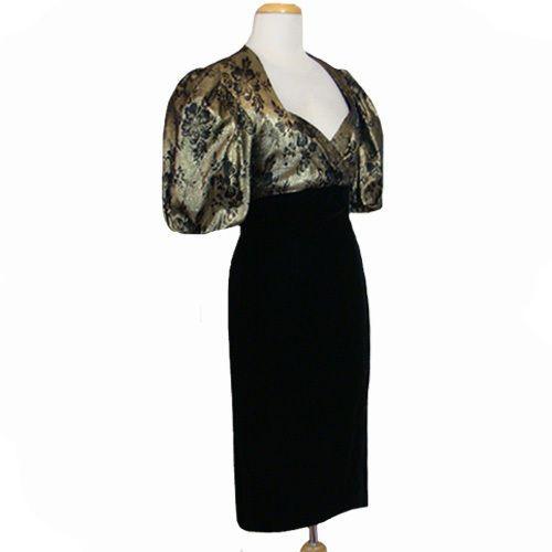 1980s Vintage Velvet  Dress Metallic Karen Lucas For Niki Large Puff Sleeves  #KarenLucasforNiki