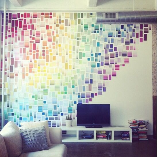 24 Creative Ways To Decorate Your Place For Free Paint Swatches Wall Dorm Decorations Decor