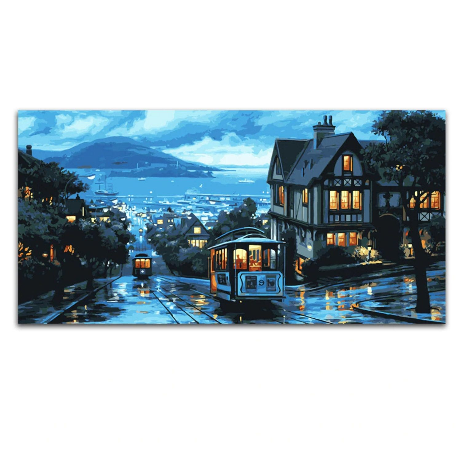 Landscape Paint By Number Kit Large Wall Art Tram City Night Diy Kit Painting On Canvas Home Decor Craft Kit For Adult Diy Gift Hobby Kit Paint By Number Kits Canvas
