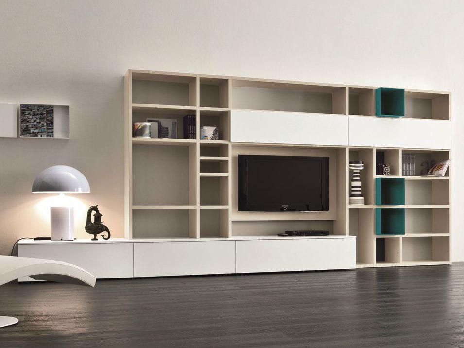 Mueble modular de pared lacado con soporte para tv SPEED N - Dall