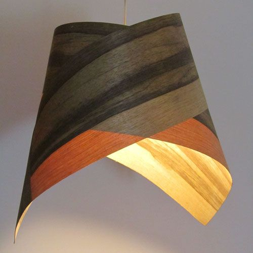 The true wonder of this lamp is in its playfulness. Each lamp consists of three ties that can be manipulated. Anyone can reshape them with a flick of the hand and sculpture his own personal lamp. Looks good as a group, suitable as atmosphere lighting and as bar light. http://www.mavestore.com/product/tie-veneer-lampshade