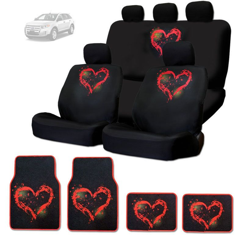 NEW RED HEART DESIGN FRONT AND REAR CAR SEAT COVERS FLOOR