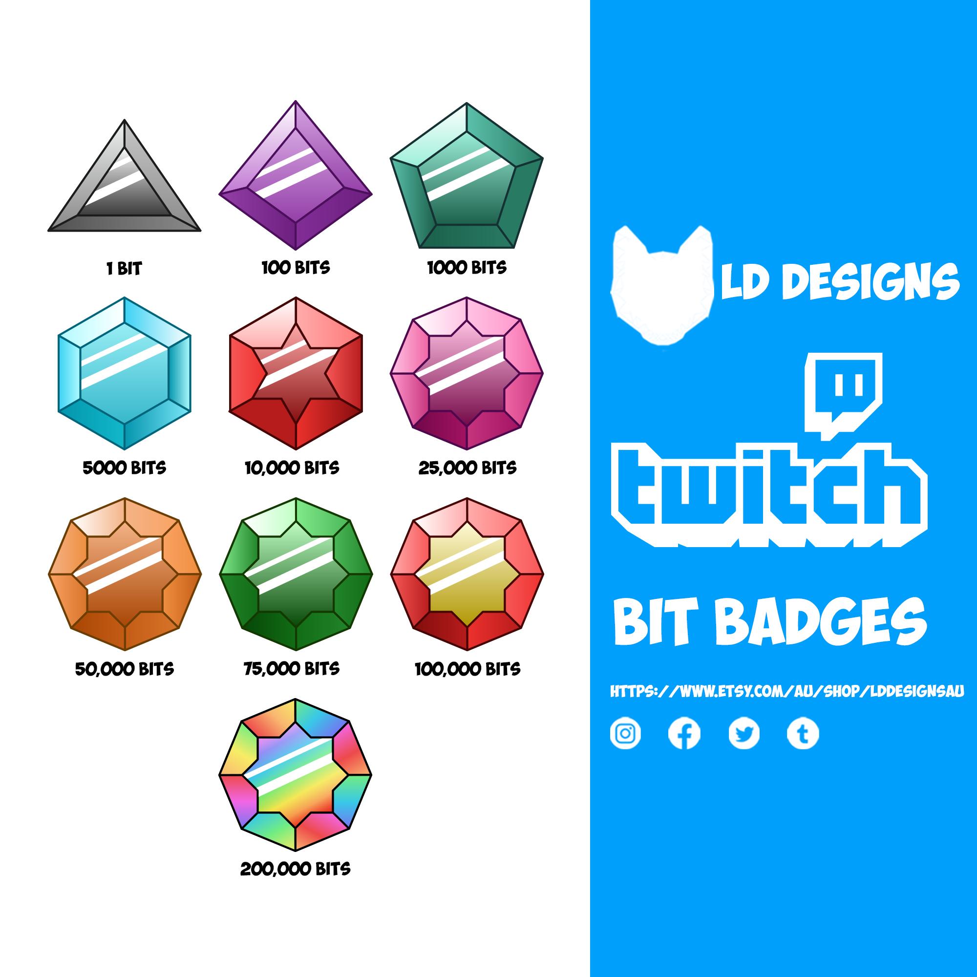 Gemstone Subscriber Badges Bit Badges Loyalty Badges For Twitch Twitch Bits Badge Twitch