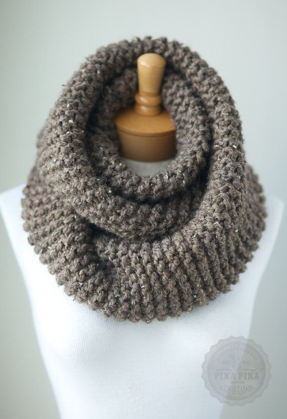 Soft chunky knit infinity scarf in Taupe Heather, extra ...