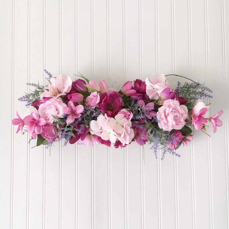 Romantic Flower Swag Pink Floral Door Hanger Bridal Shower Decoration Over The Door Decor Horizontal F Floral Swag Shabby Wedding Apothecary Jars Decor
