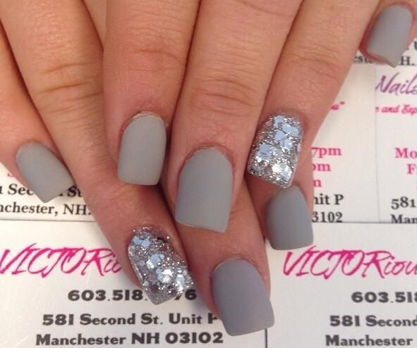 Matte grey nails with silver glitter | Cute nails | Pinterest | Gray ...