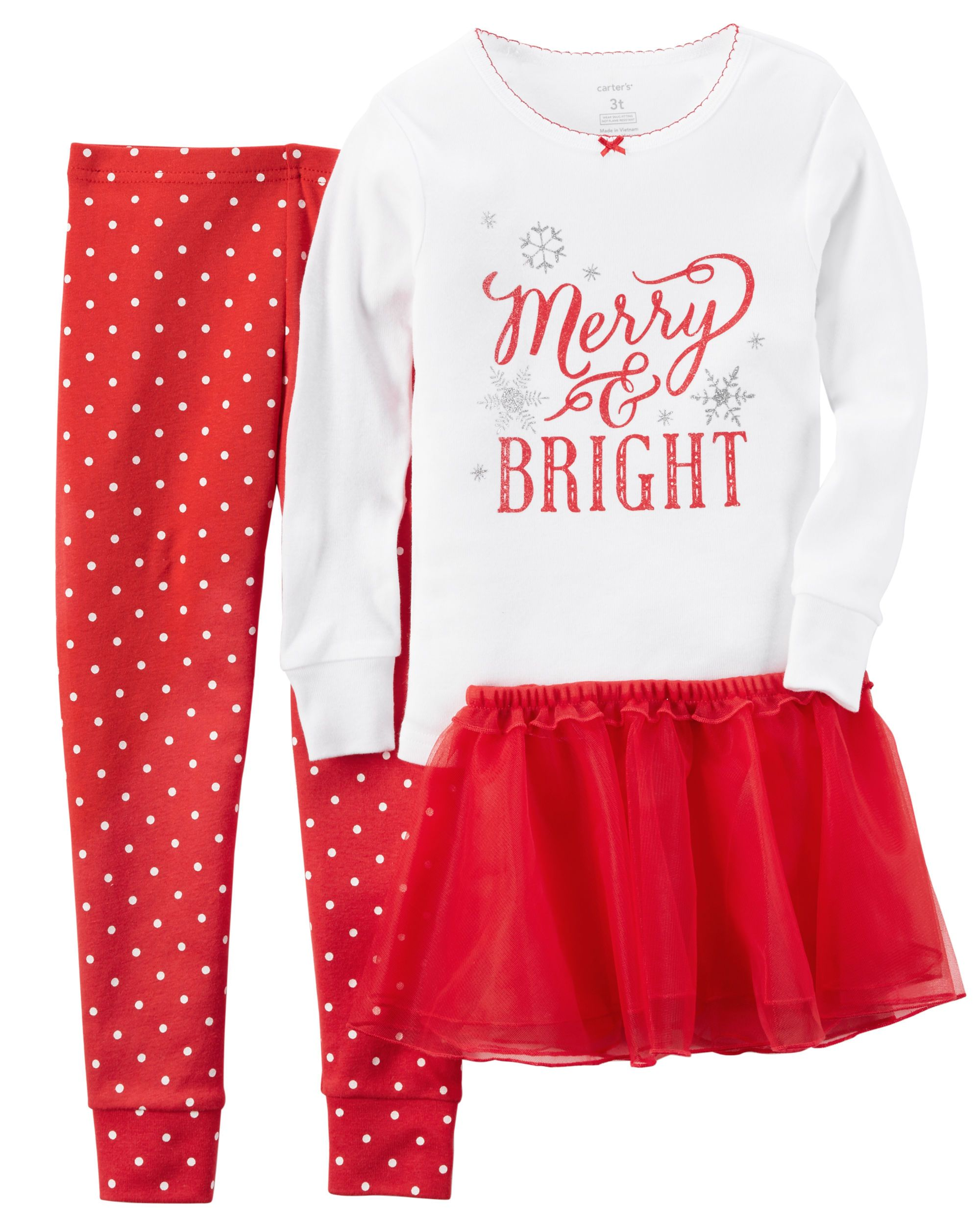 Baby Girl 2-Piece Snug Fit Cotton Christmas PJs   Tutu  8c5db11af