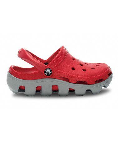 8d3fb5e5f9c3 Take a look at this Red   Light Gray Duet Sport Clog by Crocs Kids on   zulily today!