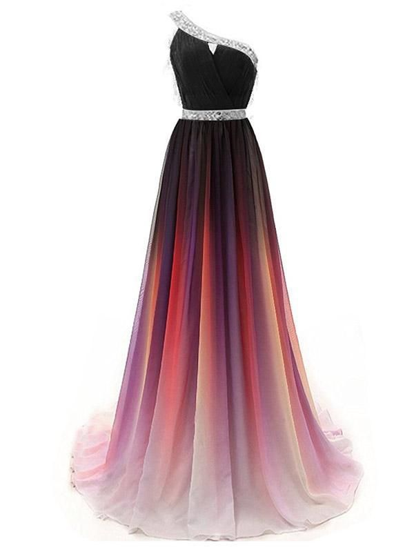cdb619ef96a One Shoulder Ombre Beaded Long Evening Prom Dresses