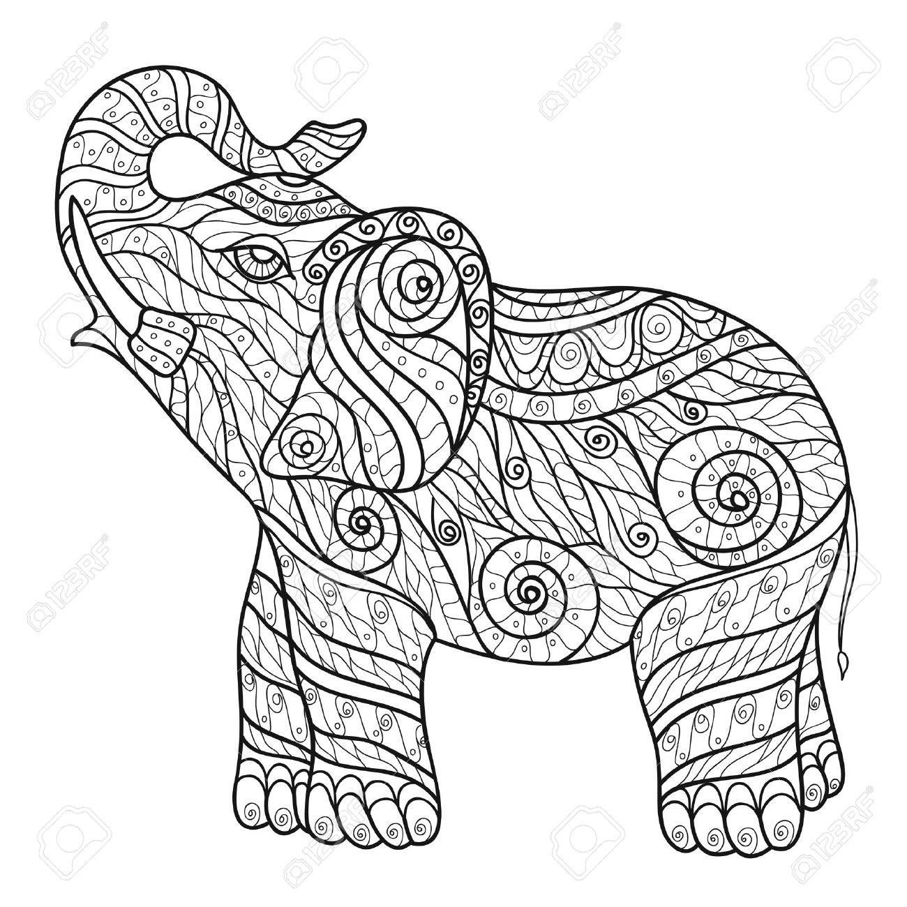 Stilisierte Elefant In Einem Grafik Stil Vektor Illustration Zentangle Malvorlagen Tiere Mandala Malvorlagen Wenn Du Mal Buch