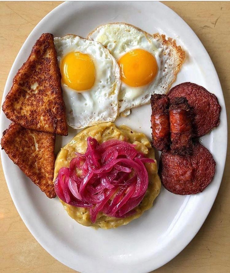 dominican breakfast mangu with red onions salami fried cheese and fried eggs over easy food cheese fries dominican breakfast red onions salami fried cheese