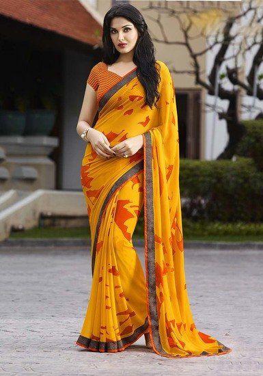 424ff130e7a Sanskar Yellow Georgette Printed Saree