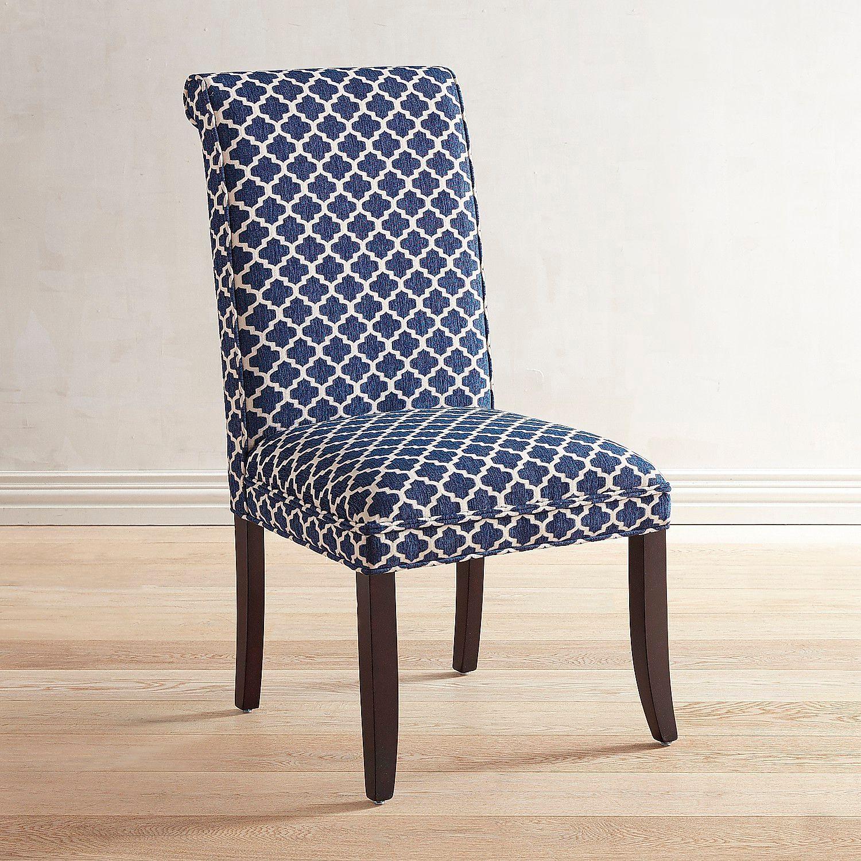 Angela navy blue trellis dining chair pier 1 imports