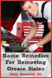 Home remedies for removing grease stains (like mechanical and electrical grease, and motor oil) from clothing.