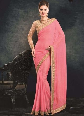 Pink Beige Embroidery Stone Work Chiffon Party Wear Designer Sarees http://www.angelnx.com/Sarees/Party-Wear-Sarees