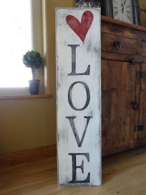 Love Sign 10x40 Hand Painted Wood Sign Heart Wall Decor Valentines Day Sign Love Wall Decor Heart Sign Vertical Sign Rustic Valentine Decor Valentine Wood Crafts Love Wood Sign