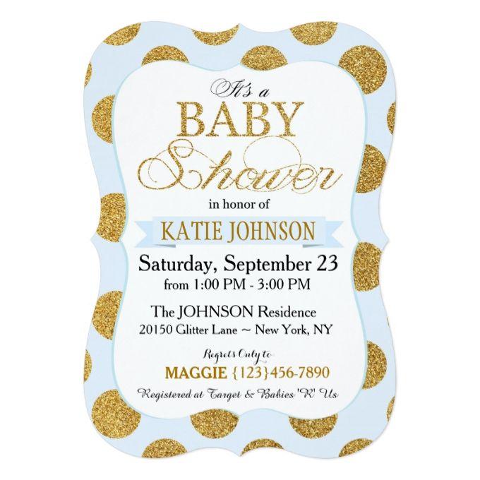 Gold Glitter Dots Baby Shower Invitation Card