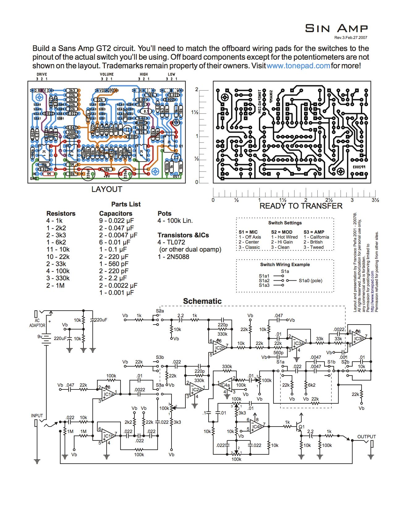 Build A Sans Amp Gt2 Circuit Circuits Pinterest Guitar Pin Way Switch Wiring Diagram Electrical On