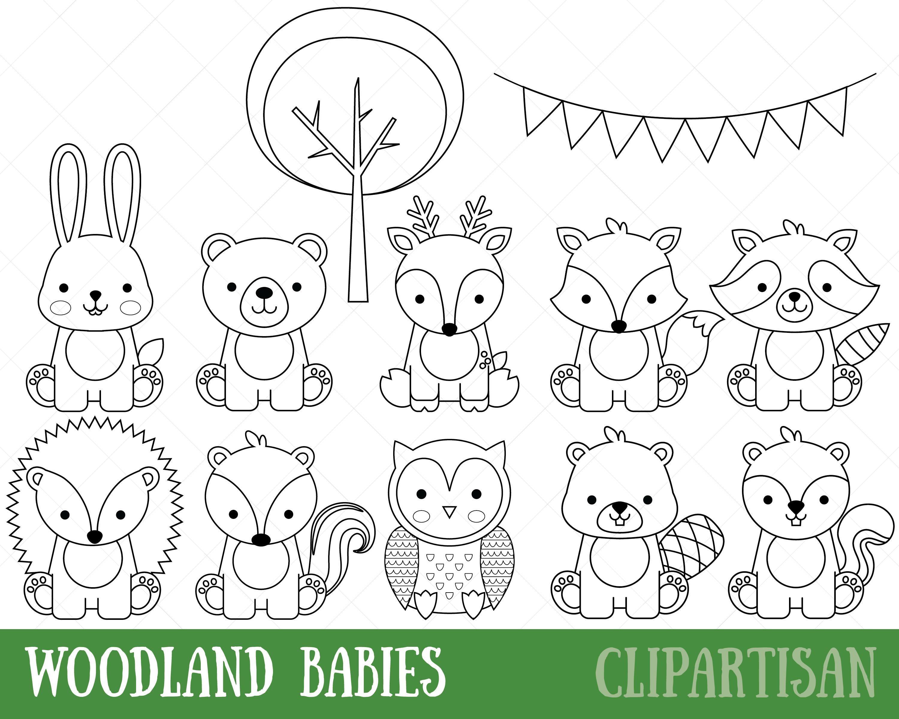 Woodland Animals Digital Stamps Baby Animal Digital Stamp Cute