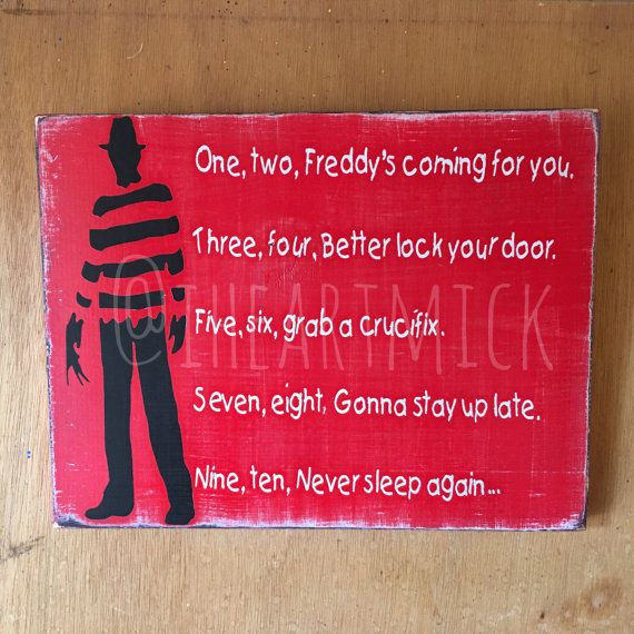 9 X 12 Freddy Krueger Silhouette With Poem Painted Etsy Halloween Street Signs Freddy Krueger Creepy Halloween Props