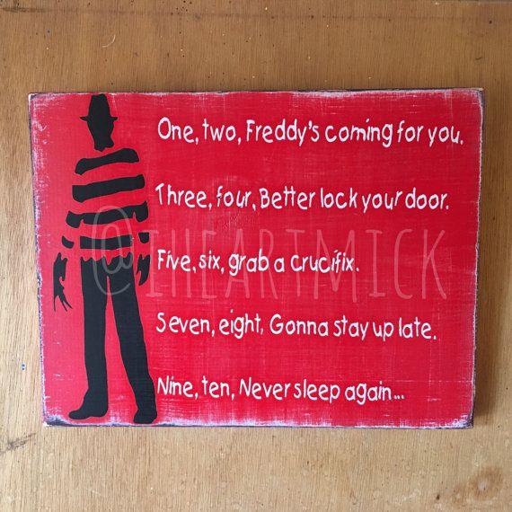9 X 12 Freddy Krueger Silhouette With Poem Painted Etsy In 2020 Freddy Krueger Halloween Street Signs Freddy