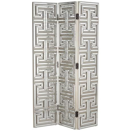 Mirrored Art Deco 3 Panel Room Divider Screen 3c005 Lamps Plus Divider Screen Room Divider Screen Panel Room Divider