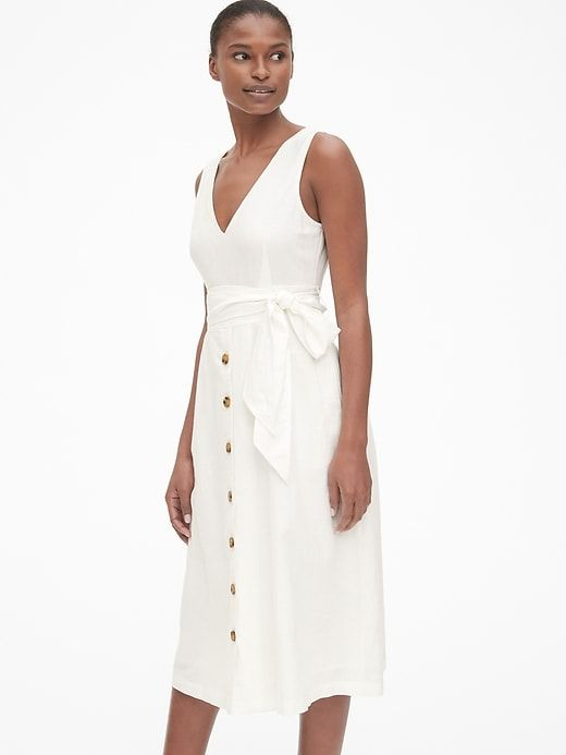 Gap Women S Button Front Midi Dress In Linen Optic White