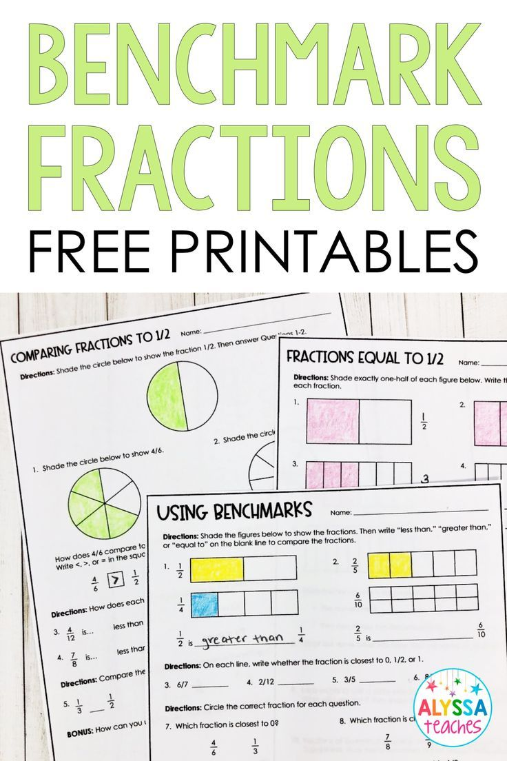 Benchmarks Fractions Poster and Worksheets (With images