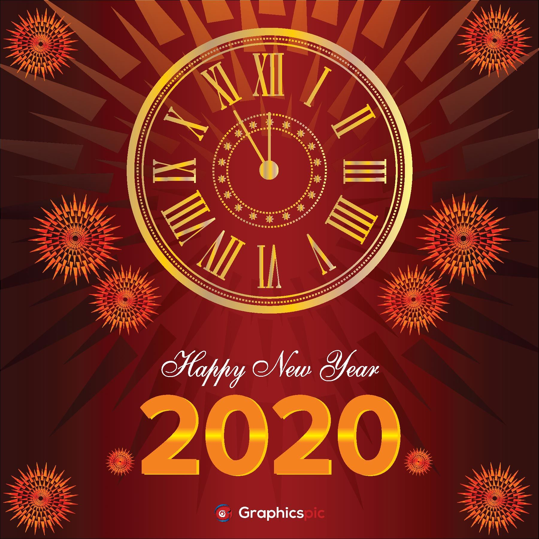 Happy New Year 2020 Background With Clock Free Vector Graphics Pic Happy New Year 2020 Vector Free Free Vector Graphics