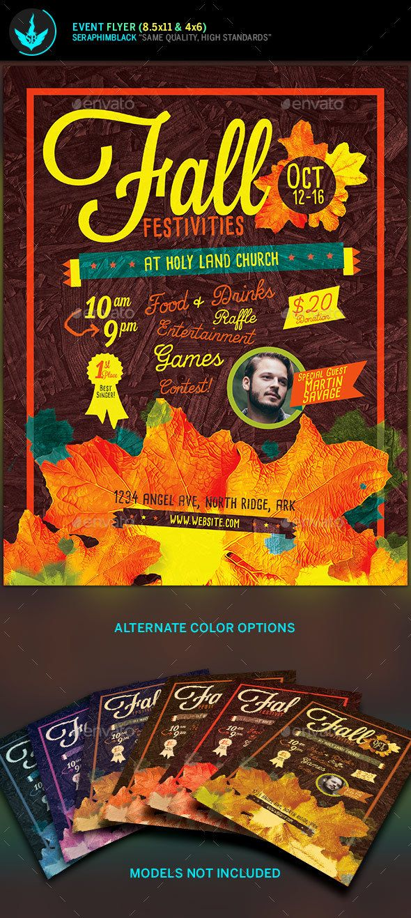 Fall Festivities Holiday Flyer Template Fonts Logos Icons