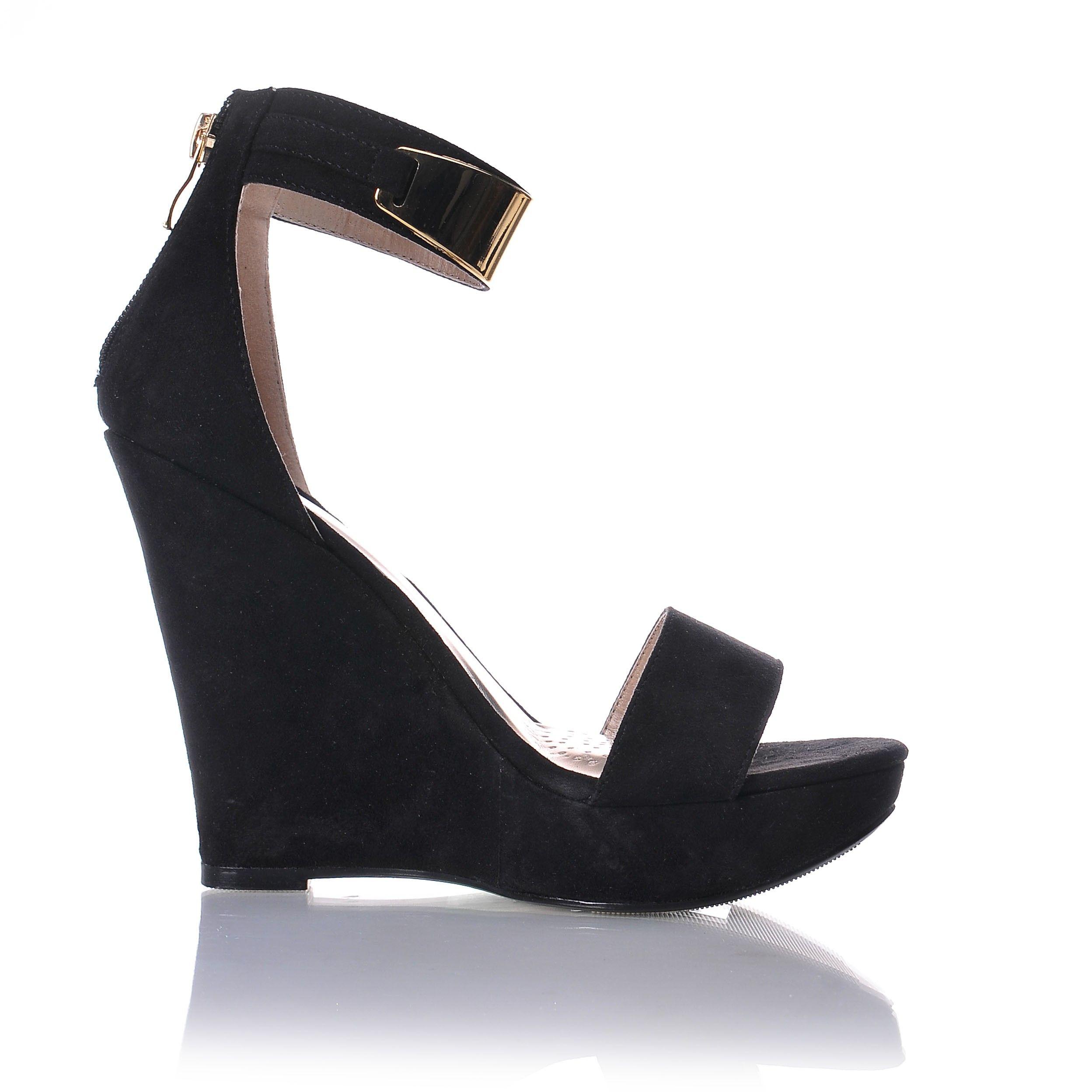 Seksowne Sandaly Na Koturnie Zlota Blaszka Shoes Wedges Fashion